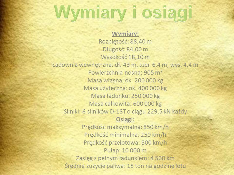 Wymiary i osiągi Wymiary: Rozpiętość: 88,40 m Długość: 84,00 m