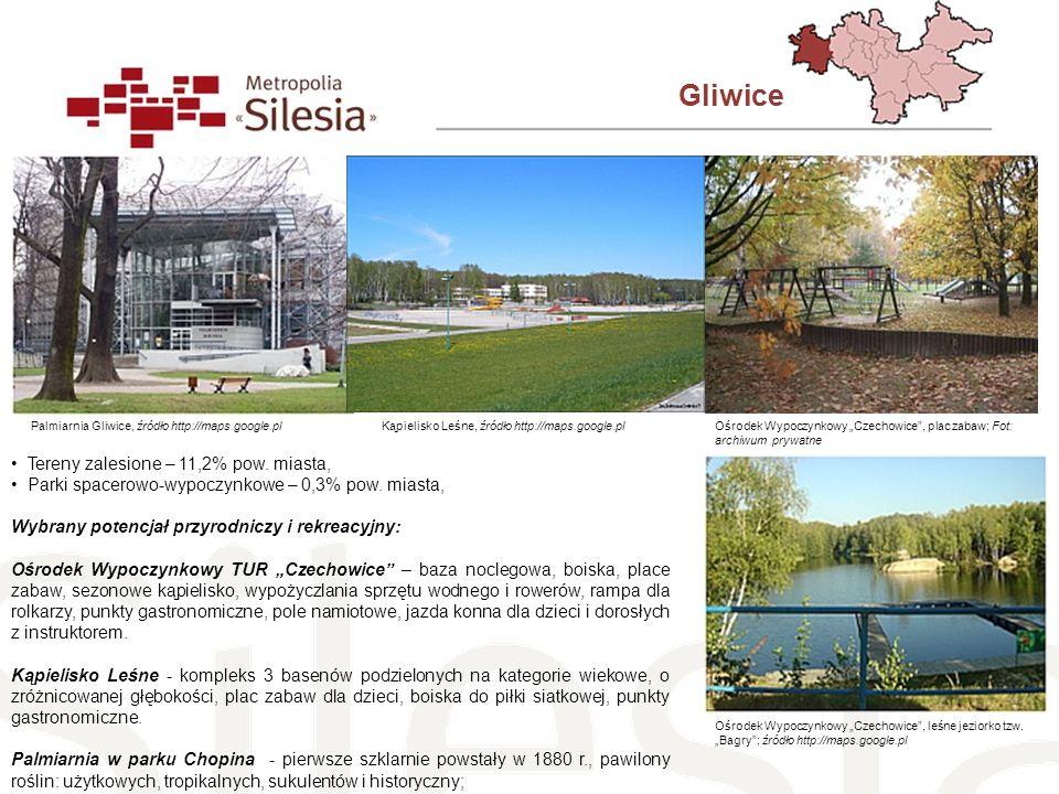 Gliwice Tereny zalesione – 11,2% pow. miasta,