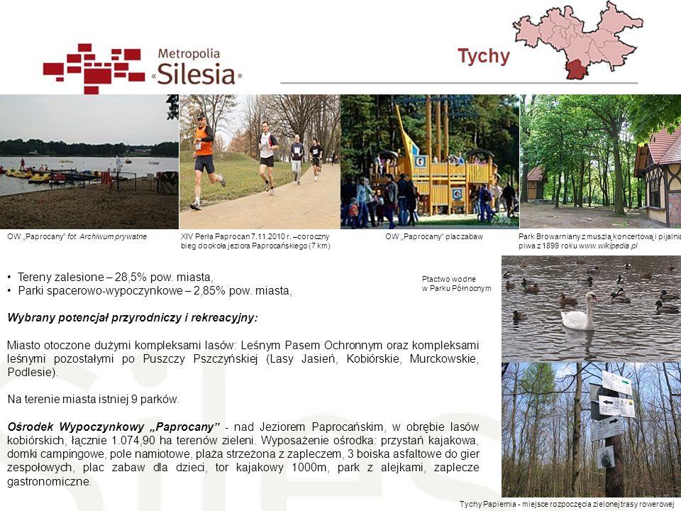 Tychy Tereny zalesione – 28,5% pow. miasta,