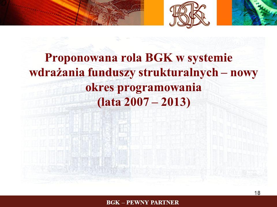 Proponowana rola BGK w systemie wdrażania funduszy strukturalnych – nowy okres programowania (lata 2007 – 2013)