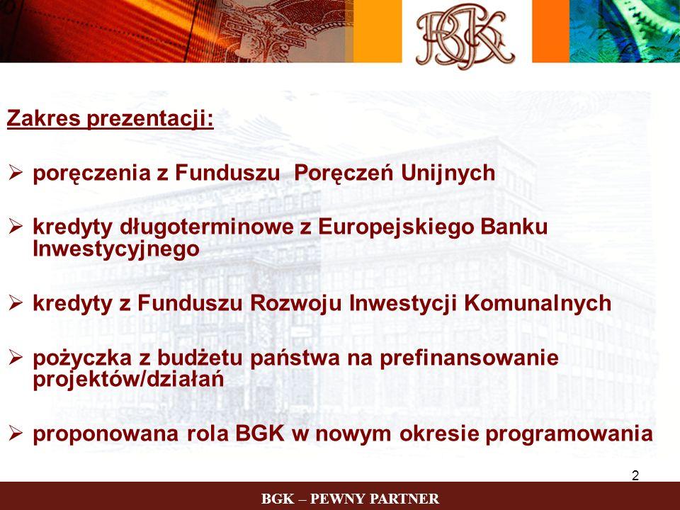 Zakres prezentacji:poręczenia z Funduszu Poręczeń Unijnych. kredyty długoterminowe z Europejskiego Banku Inwestycyjnego.