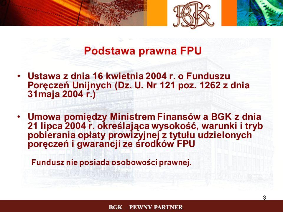 Podstawa prawna FPU Ustawa z dnia 16 kwietnia 2004 r. o Funduszu Poręczeń Unijnych (Dz. U. Nr 121 poz. 1262 z dnia 31maja 2004 r.)