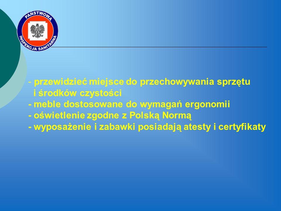 przewidzieć miejsce do przechowywania sprzętu i środków czystości - meble dostosowane do wymagań ergonomii - oświetlenie zgodne z Polską Normą - wyposażenie i zabawki posiadają atesty i certyfikaty