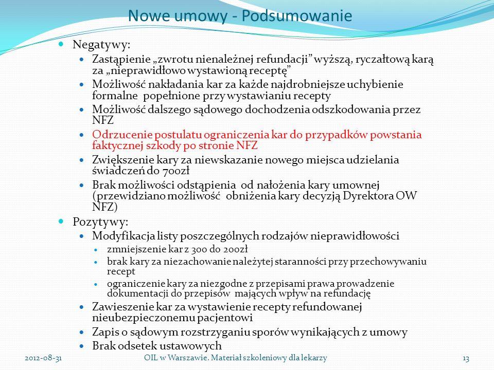 Nowe umowy - Podsumowanie