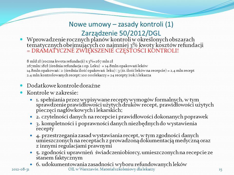 Nowe umowy – zasady kontroli (1) Zarządzenie 50/2012/DGL