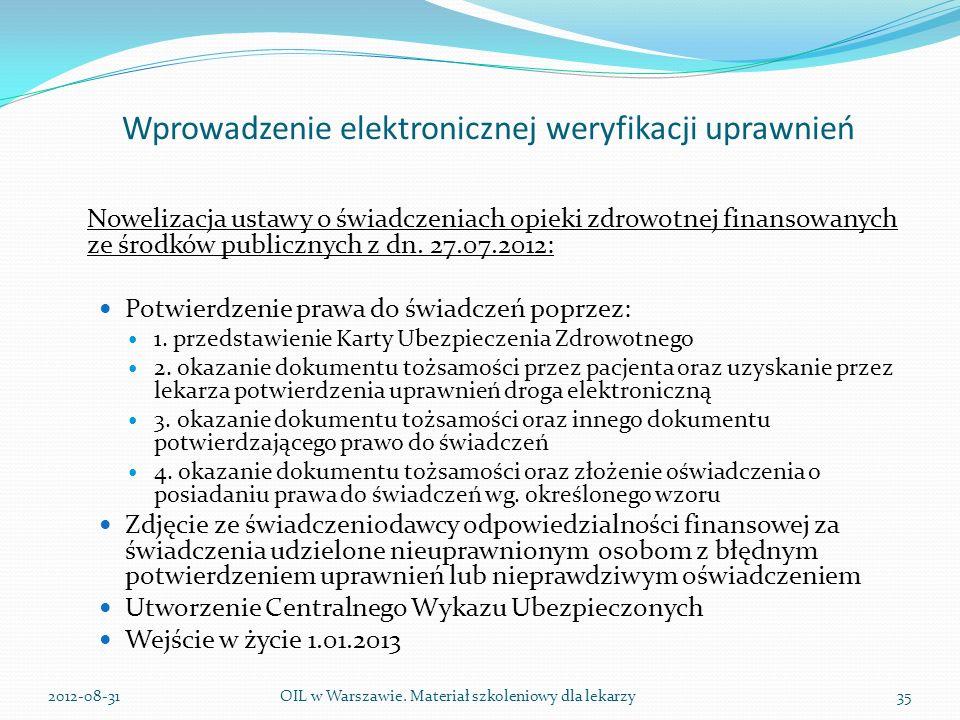 Wprowadzenie elektronicznej weryfikacji uprawnień