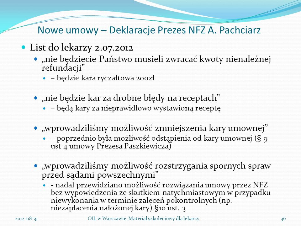 Nowe umowy – Deklaracje Prezes NFZ A. Pachciarz