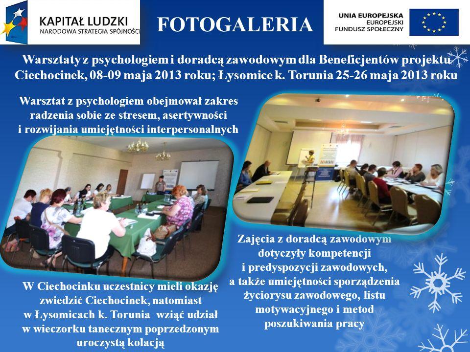 FOTOGALERIA Warsztaty z psychologiem i doradcą zawodowym dla Beneficjentów projektu.