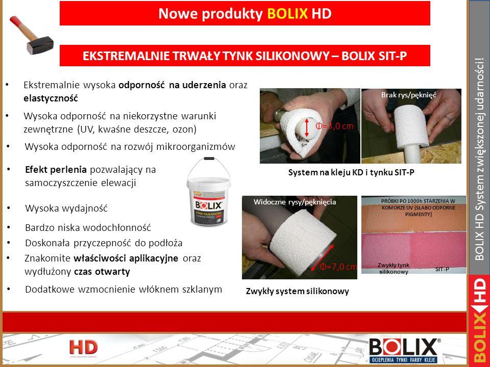 Nowe produkty BOLIX HD EKSTREMALNIE TRWAŁY TYNK SILIKONOWY – BOLIX SIT-P. Ekstremalnie wysoka odporność na uderzenia oraz elastyczność.