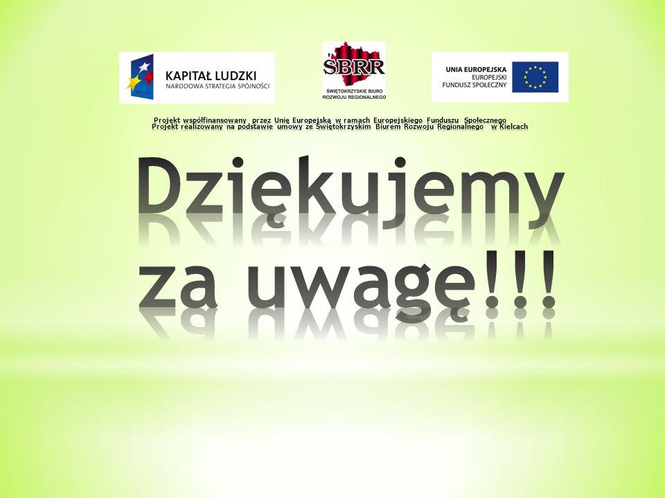 Projekt współfinansowany przez Unię Europejską w ramach Europejskiego Funduszu Społecznego Projekt realizowany na podstawie umowy ze Świętokrzyskim Biurem Rozwoju Regionalnego w Kielcach