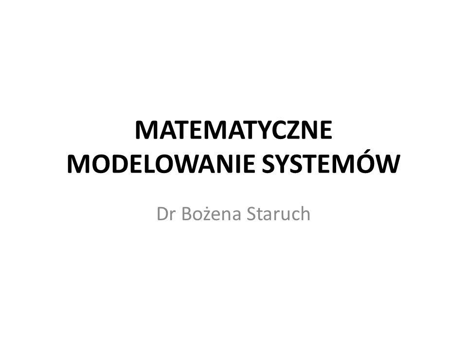MATEMATYCZNE MODELOWANIE SYSTEMÓW