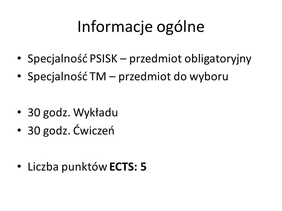 Informacje ogólne Specjalność PSISK – przedmiot obligatoryjny