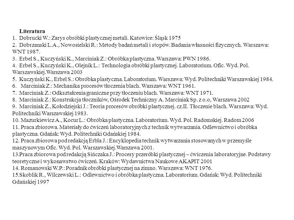 Literatura Dobrucki W.: Zarys obróbki plastycznej metali. Katowice: Śląsk 1975.