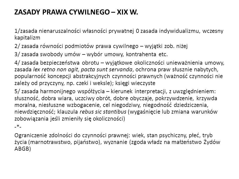 ZASADY PRAWA CYWILNEGO – XIX W.