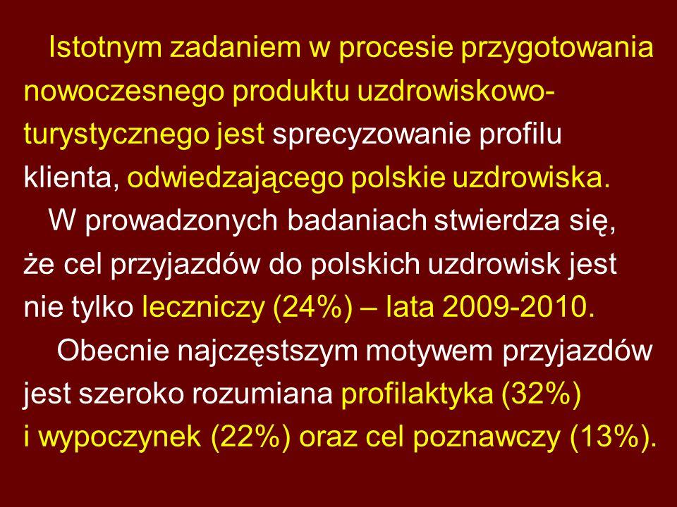 Istotnym zadaniem w procesie przygotowania nowoczesnego produktu uzdrowiskowo- turystycznego jest sprecyzowanie profilu klienta, odwiedzającego polskie uzdrowiska.