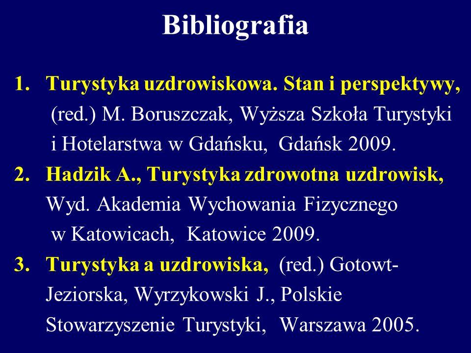 Bibliografia Turystyka uzdrowiskowa. Stan i perspektywy,