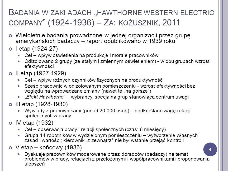 """Badania w zakładach """"hawthorne western electric company (1924-1936) – Za: kożusznik, 2011"""