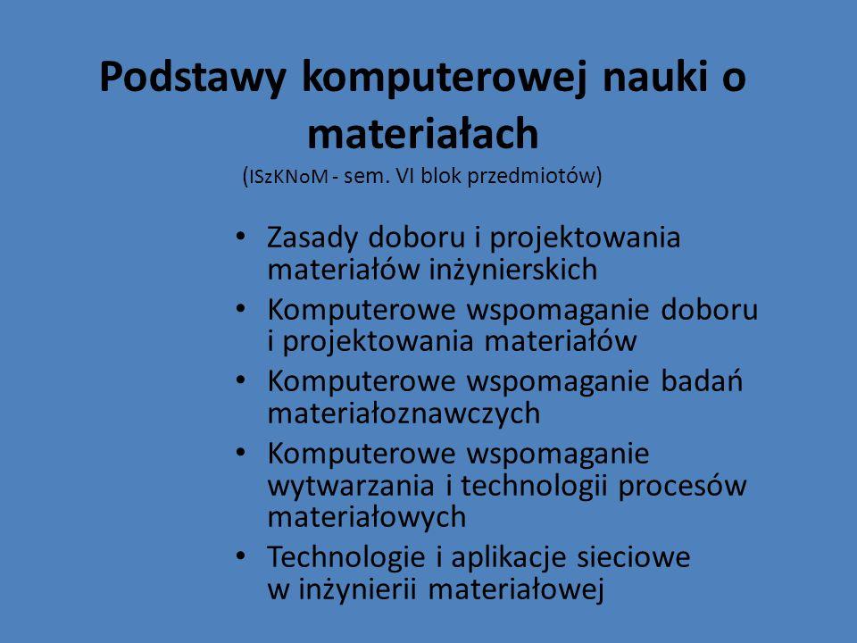 Podstawy komputerowej nauki o materiałach (ISzKNoM - sem