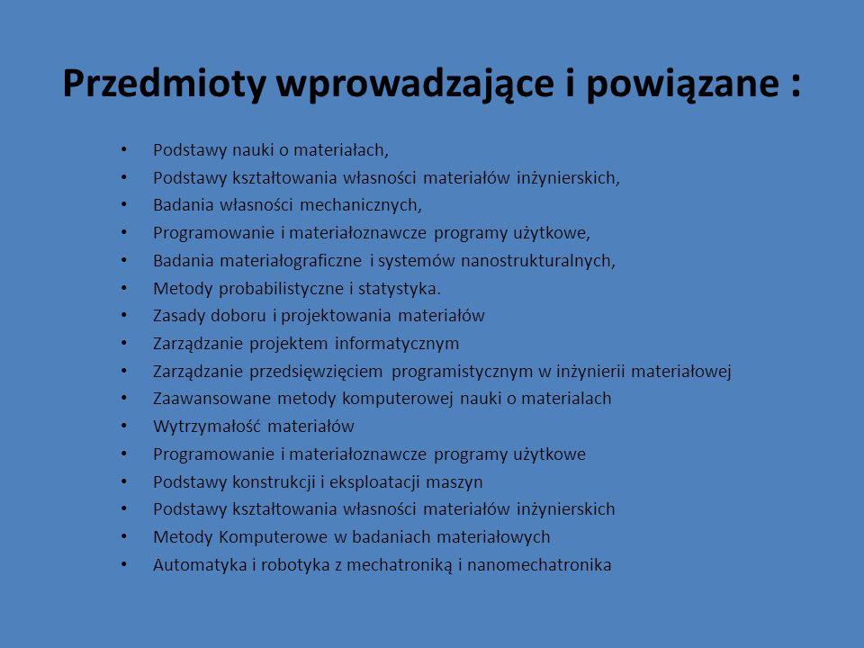 Przedmioty wprowadzające i powiązane :