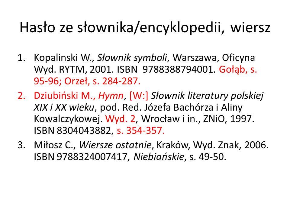 Hasło ze słownika/encyklopedii, wiersz