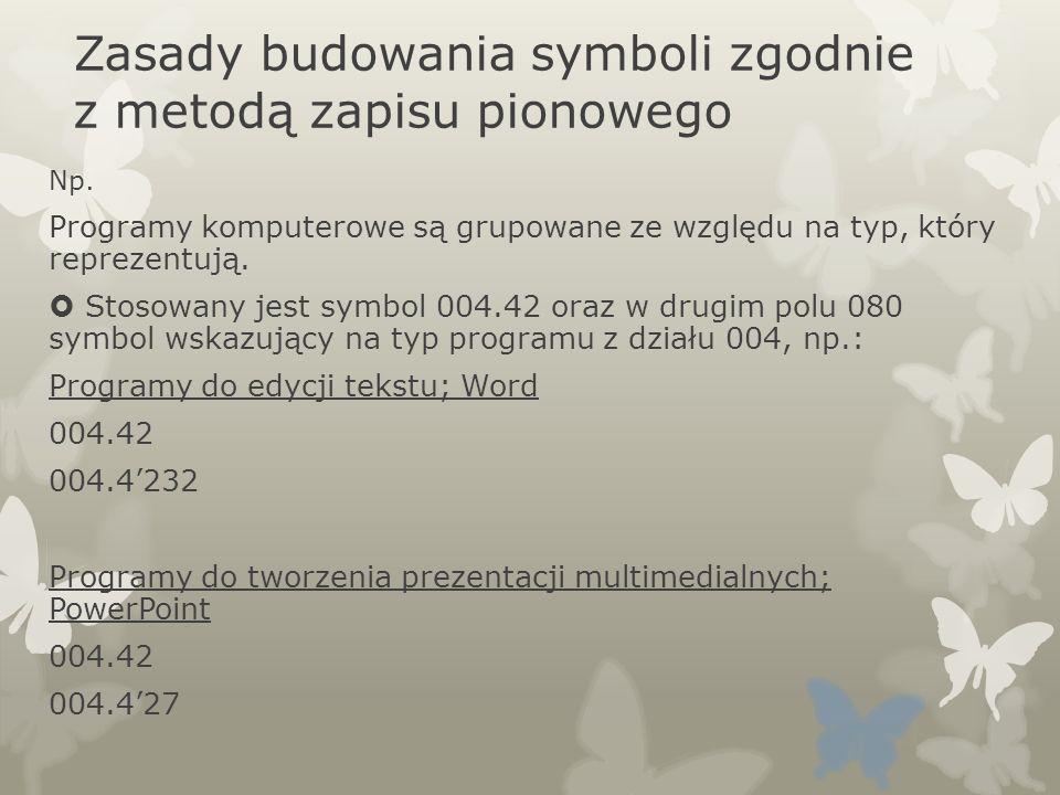 Zasady budowania symboli zgodnie z metodą zapisu pionowego