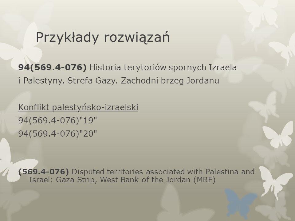 Przykłady rozwiązań 94(569.4-076) Historia terytoriów spornych Izraela