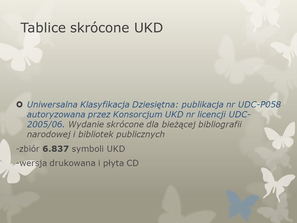 Tablice skrócone UKD
