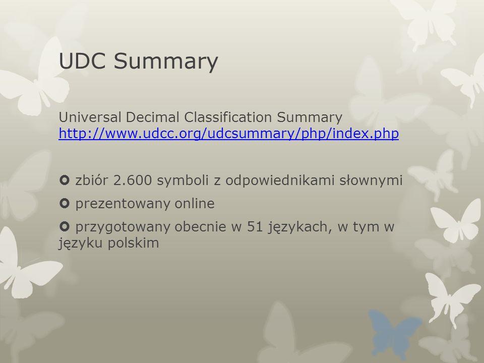 UDC SummaryUniversal Decimal Classification Summary http://www.udcc.org/udcsummary/php/index.php. zbiór 2.600 symboli z odpowiednikami słownymi.