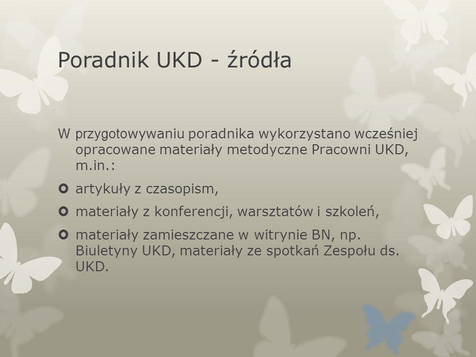 Poradnik UKD - źródła W przygotowywaniu poradnika wykorzystano wcześniej opracowane materiały metodyczne Pracowni UKD, m.in.: