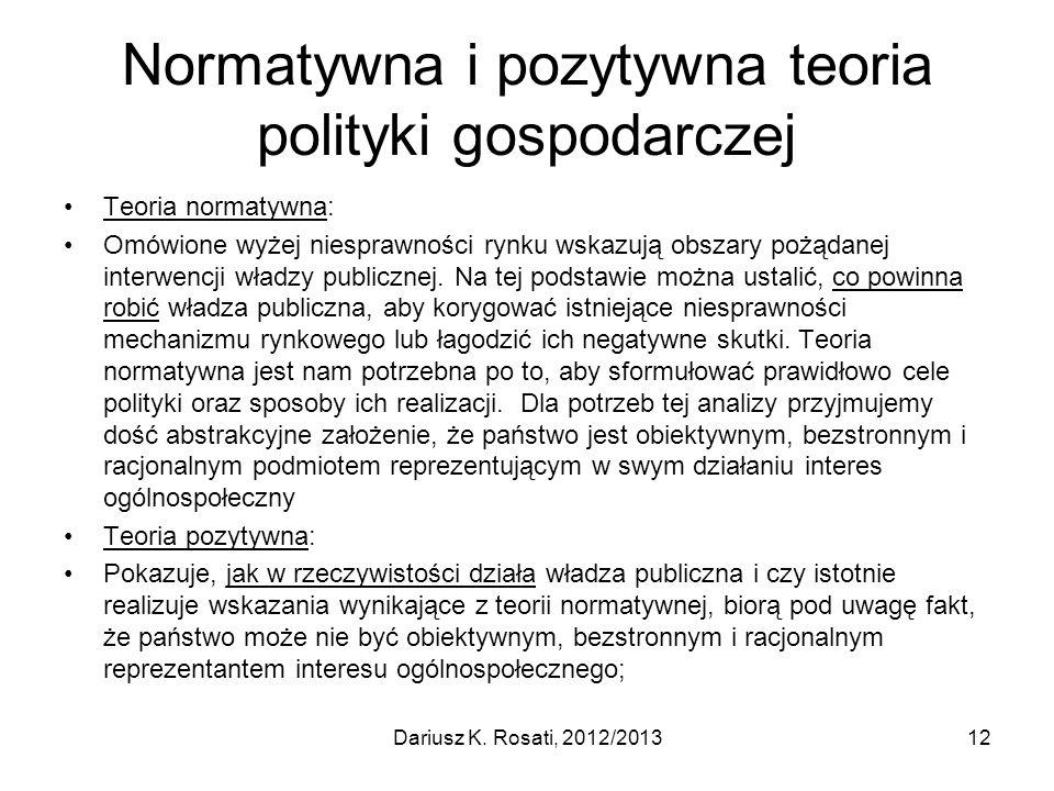 Normatywna i pozytywna teoria polityki gospodarczej