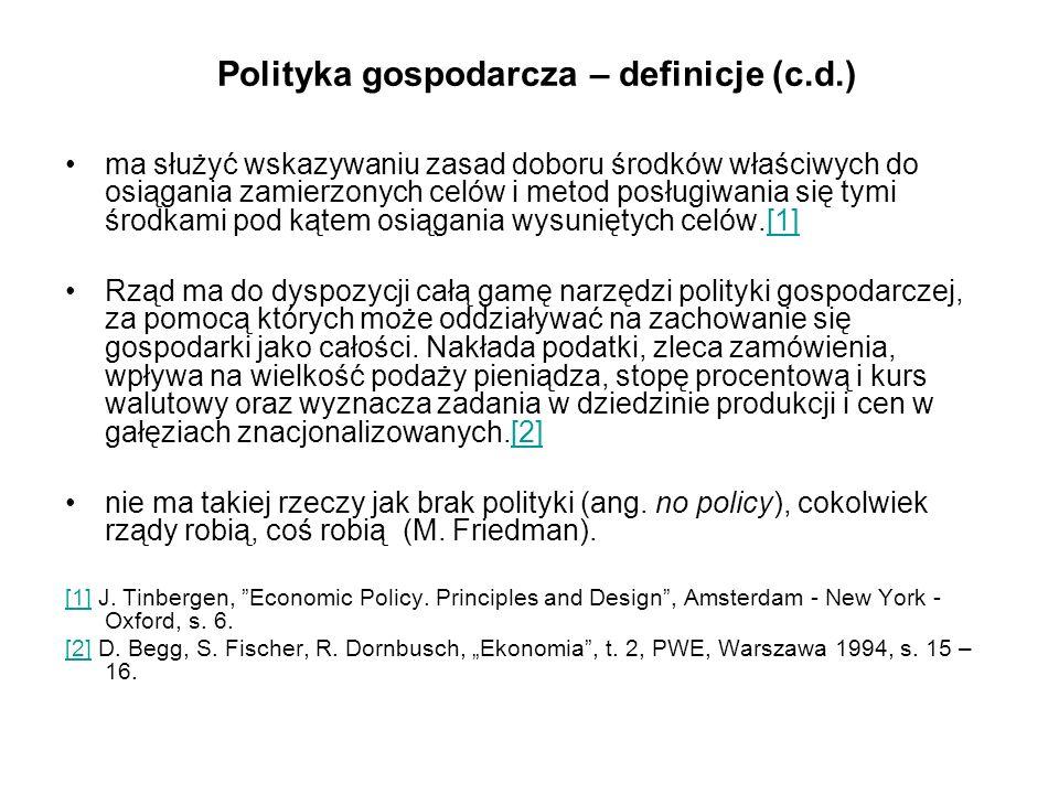 Polityka gospodarcza – definicje (c.d.)