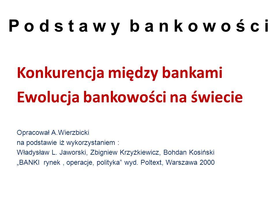 Konkurencja między bankami Ewolucja bankowości na świecie