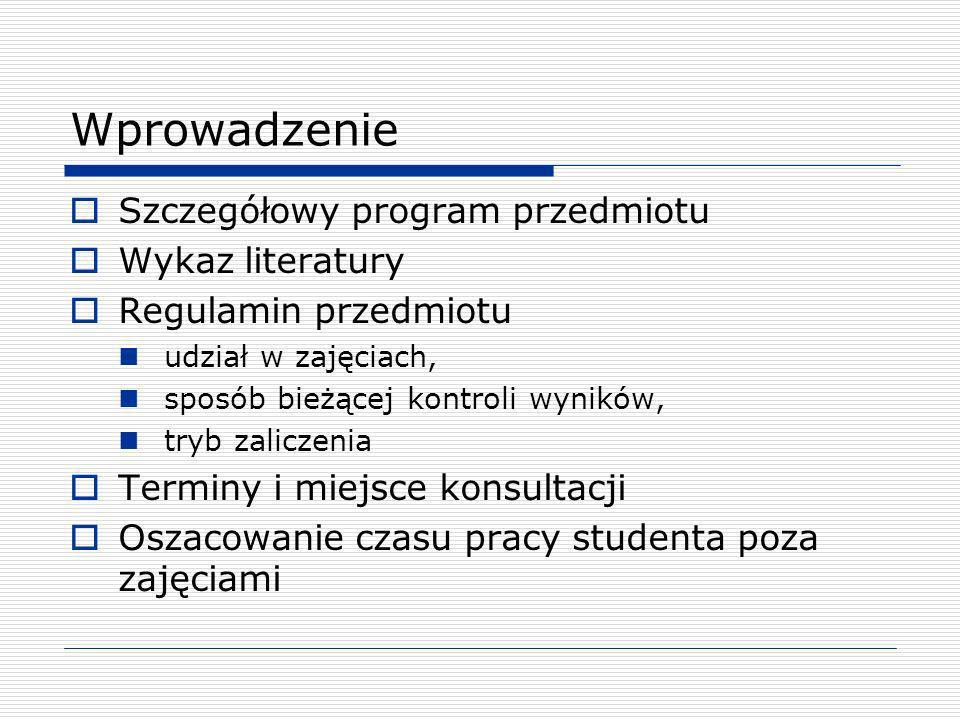 Wprowadzenie Szczegółowy program przedmiotu Wykaz literatury