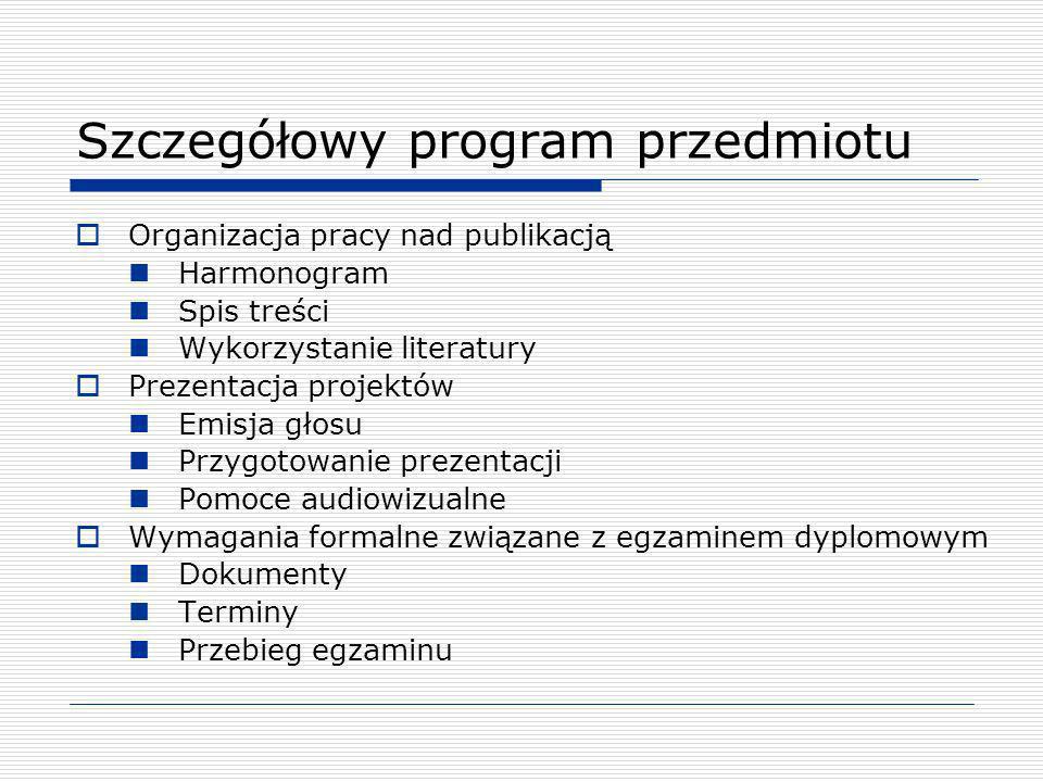 Szczegółowy program przedmiotu