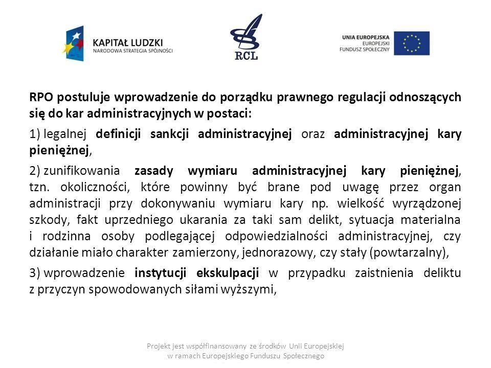 RPO postuluje wprowadzenie do porządku prawnego regulacji odnoszących się do kar administracyjnych w postaci: