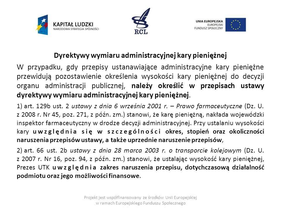Dyrektywy wymiaru administracyjnej kary pieniężnej