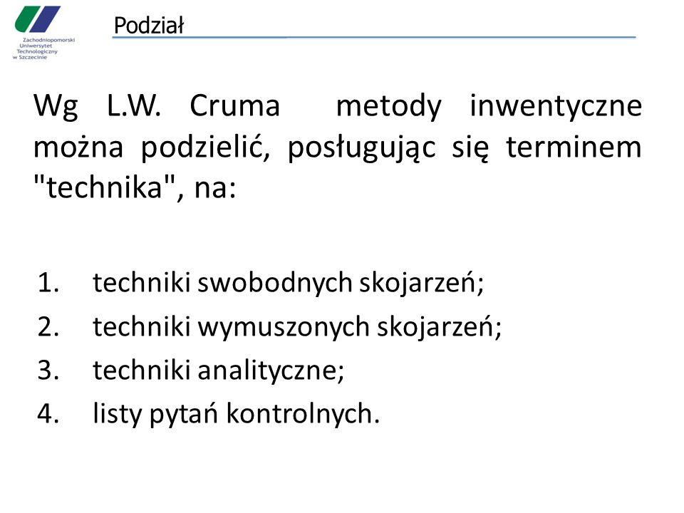 Podział Wg L.W. Cruma metody inwentyczne można podzielić, posługując się terminem technika , na: techniki swobodnych skojarzeń;