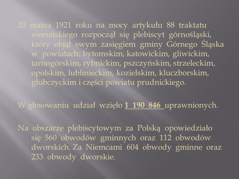 20 marca 1921 roku na mocy artykułu 88 traktatu wersalskiego rozpoczął się plebiscyt górnośląski, który objął swym zasięgiem gminy Górnego Śląska w powiatach: bytomskim, katowickim, gliwickim, tarnogórskim, rybnickim, pszczyńskim, strzeleckim, opolskim, lublinieckim, kozielskim, kluczborskim, głubczyckim i części powiatu prudnickiego.