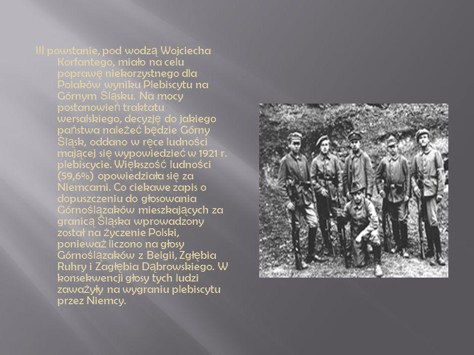 III powstanie, pod wodzą Wojciecha Korfantego, miało na celu poprawę niekorzystnego dla Polaków wyniku Plebiscytu na Górnym Śląsku.