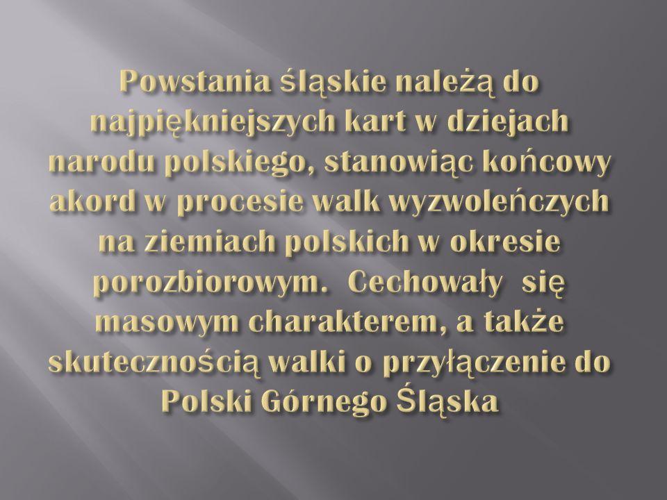 Powstania śląskie należą do najpiękniejszych kart w dziejach narodu polskiego, stanowiąc końcowy akord w procesie walk wyzwoleńczych na ziemiach polskich w okresie porozbiorowym.