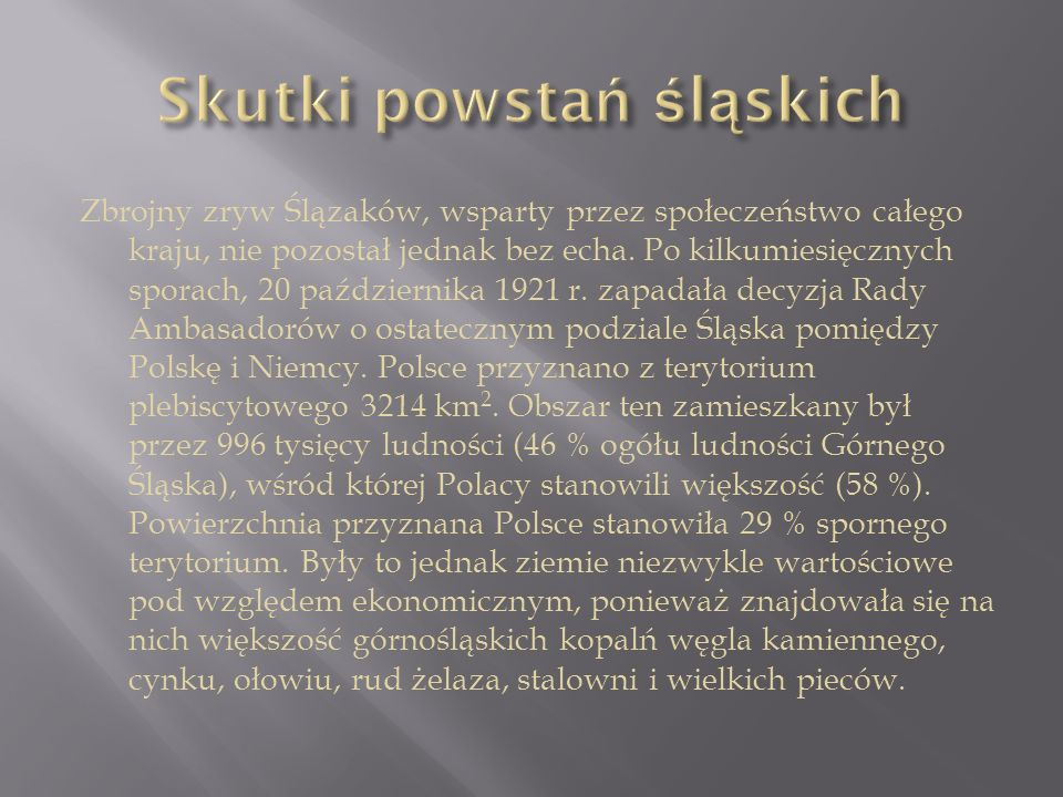 Skutki powstań śląskich