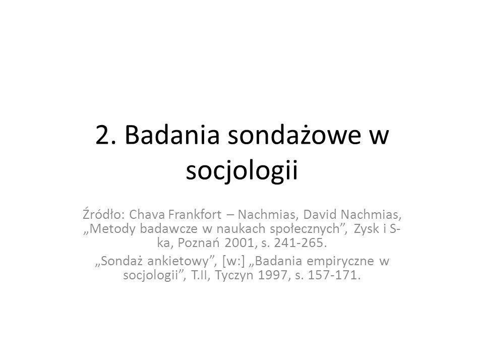 2. Badania sondażowe w socjologii