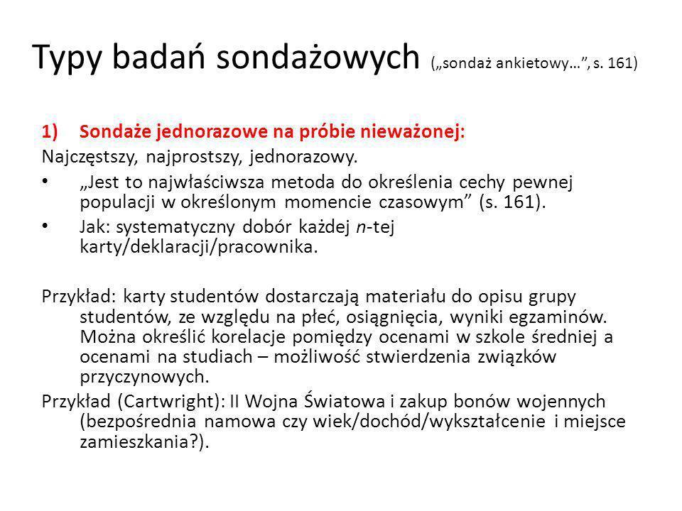 """Typy badań sondażowych (""""sondaż ankietowy… , s. 161)"""