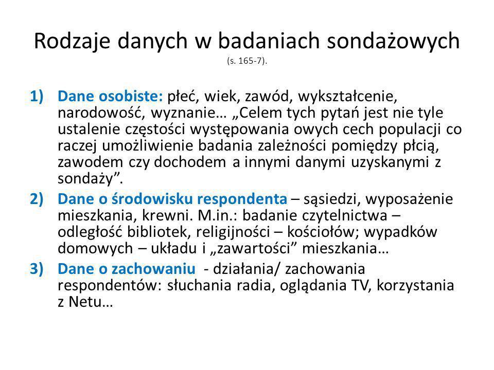 Rodzaje danych w badaniach sondażowych (s. 165-7).