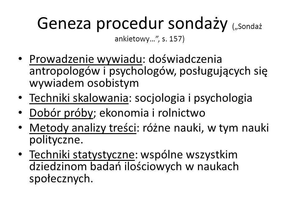 """Geneza procedur sondaży (""""Sondaż ankietowy… , s. 157)"""