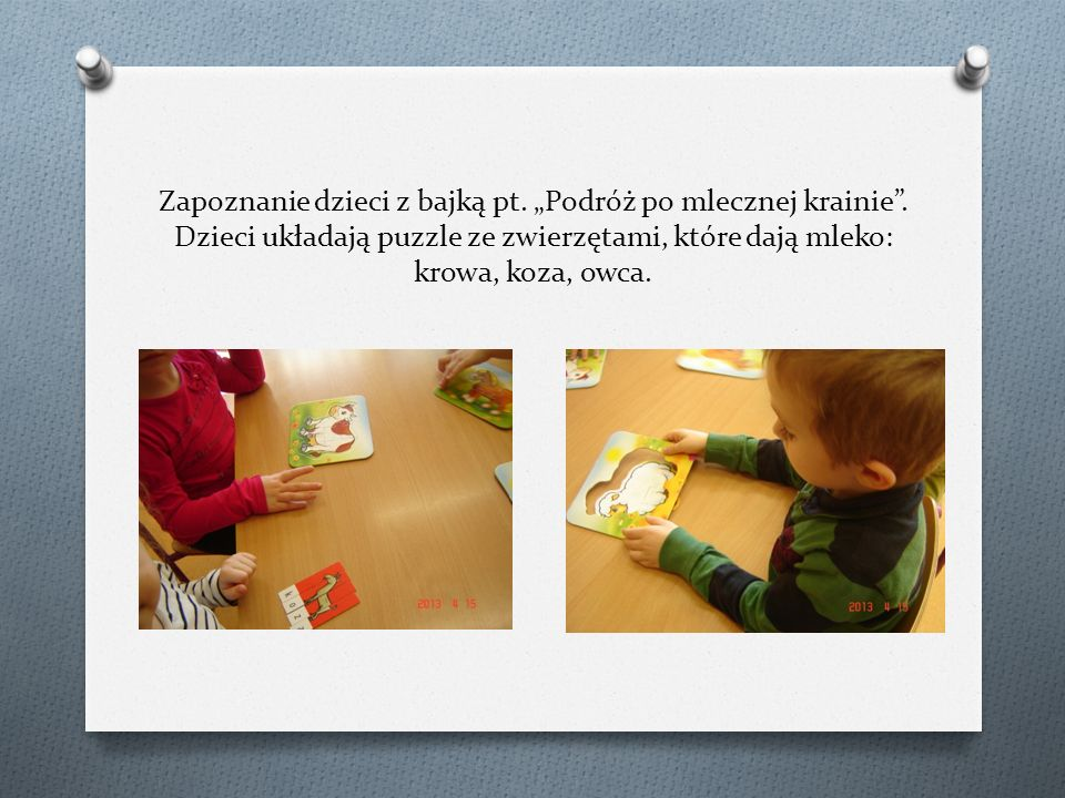 """Zapoznanie dzieci z bajką pt. """"Podróż po mlecznej krainie"""