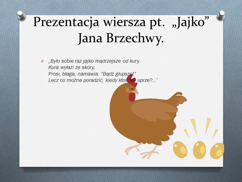"""Prezentacja wiersza pt. """"Jajko Jana Brzechwy."""
