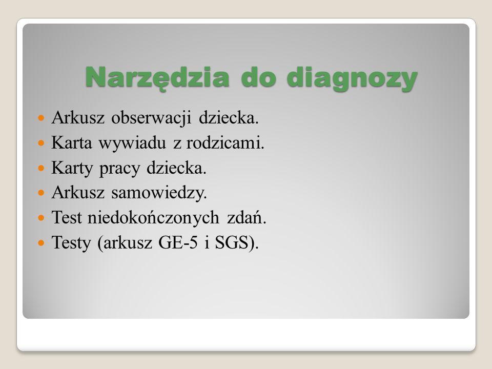 Narzędzia do diagnozy Arkusz obserwacji dziecka.
