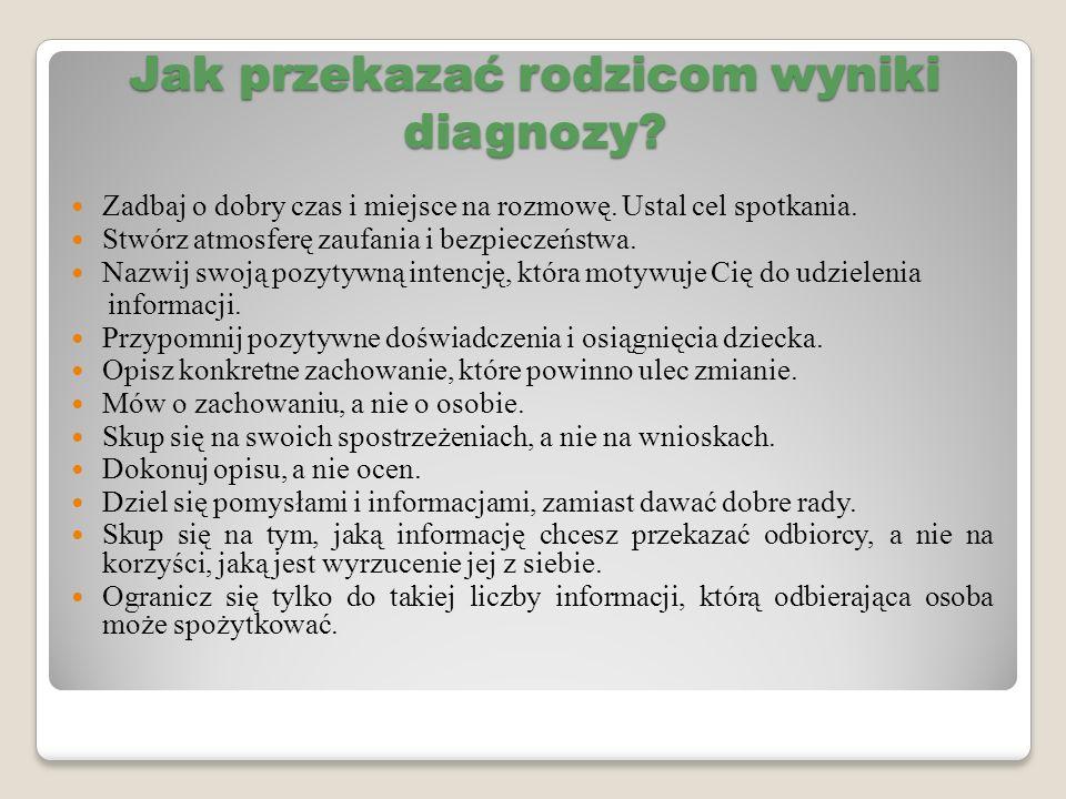 Jak przekazać rodzicom wyniki diagnozy