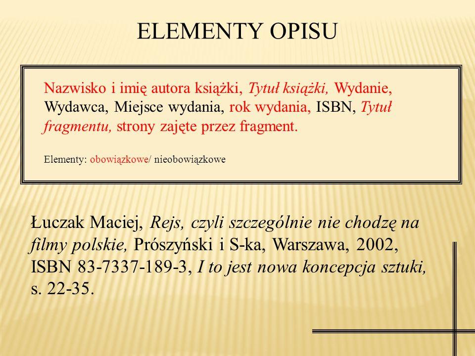 ELEMENTY OPISU